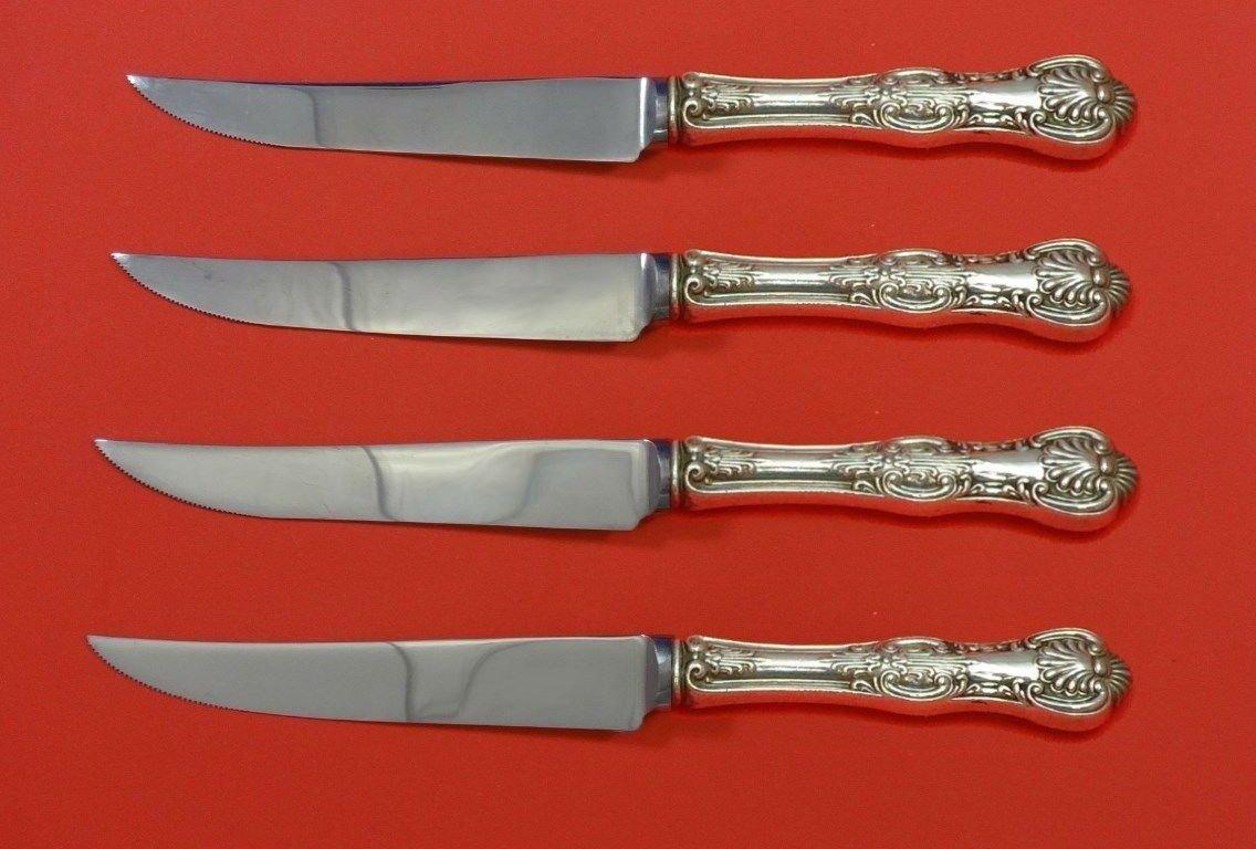 "Kings by Wallace Sterling Silver Steak Knife Set 4pc HHWS  Custom Made 8 1/2"""