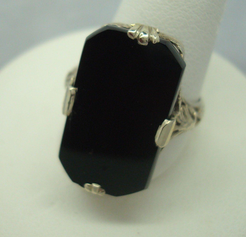 Elegant 14k Gold Filigree Ring with Black Genuine Natural Onyx (#908)