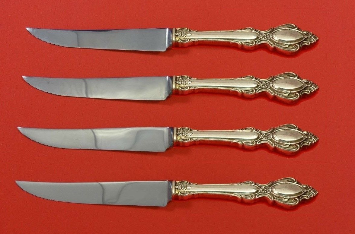 Lasting Grace by  Lunt Sterling Silver Steak Knife Set 4pc HHWS  Custom 8 1/2""