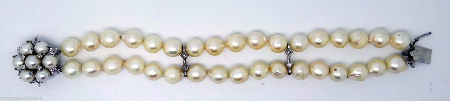 Pearl Bracelet with Diamonds and 14k White Gold (#3211)