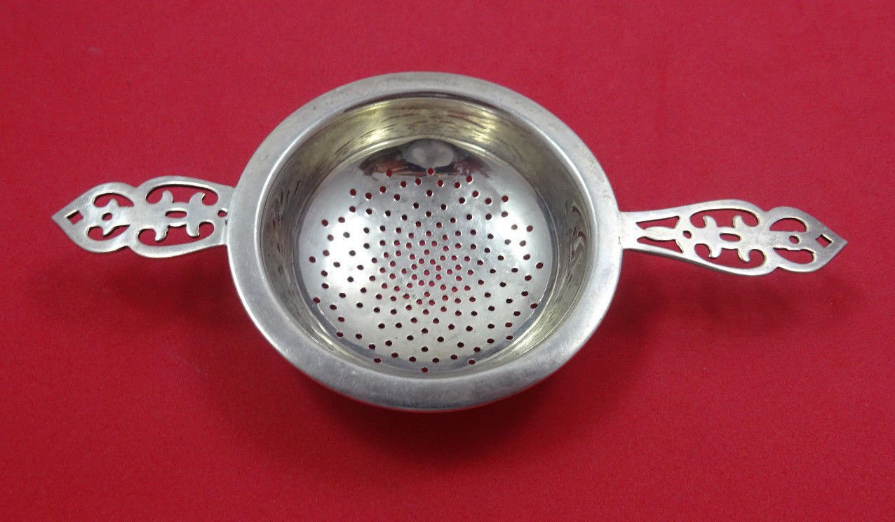 """Roden Sterling Silver Tea Strainer with Pierced Handle 4 3/4"""""""