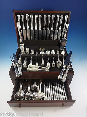 King by Kirk Sterling Silver Dinner Flatware Set For 12 Service 160 Pcs Shell