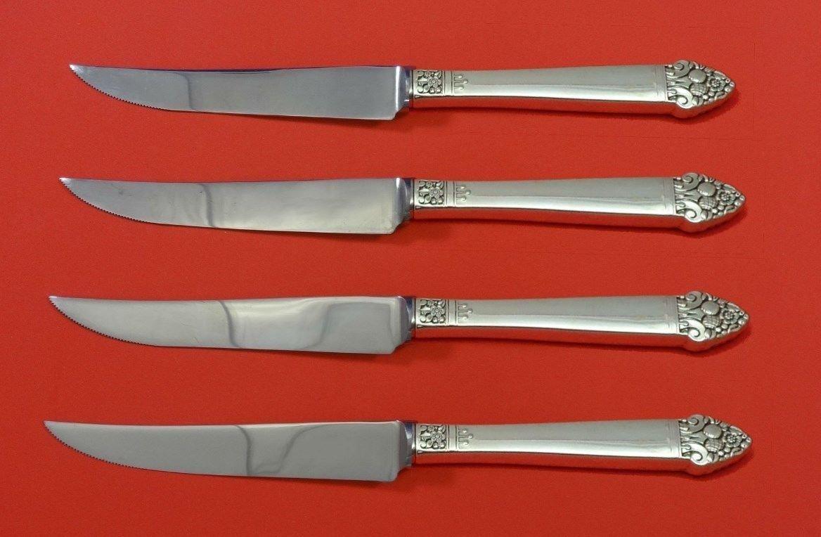 "King Cedric by Oneida Sterling Silver Steak Knife Set 4pc HHWS  Custom 8 1/2"""