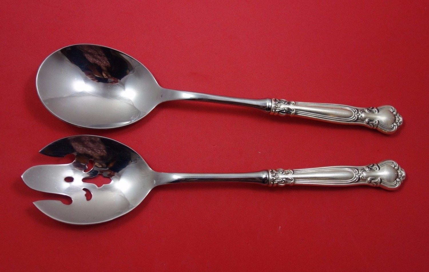 """Chantilly by Gorham Sterling Silver Salad Serving Set 2pc HHWS  11 3/8"""""""