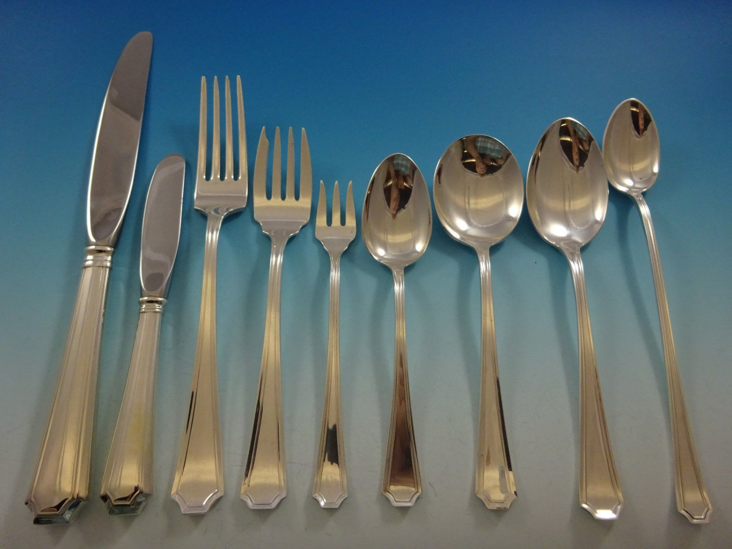 Fairfax by Gorham Sterling Silver Flatware Set For 12 Service Place Size 110 Pcs