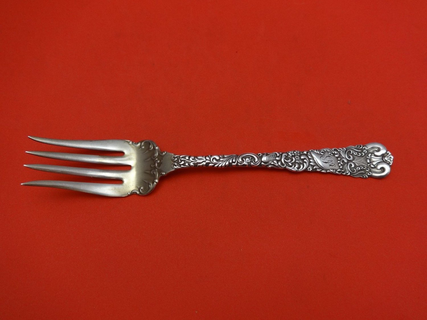 Dresden by Watrous Sterling Silver Beef Fork with Light Gold Wash 7""