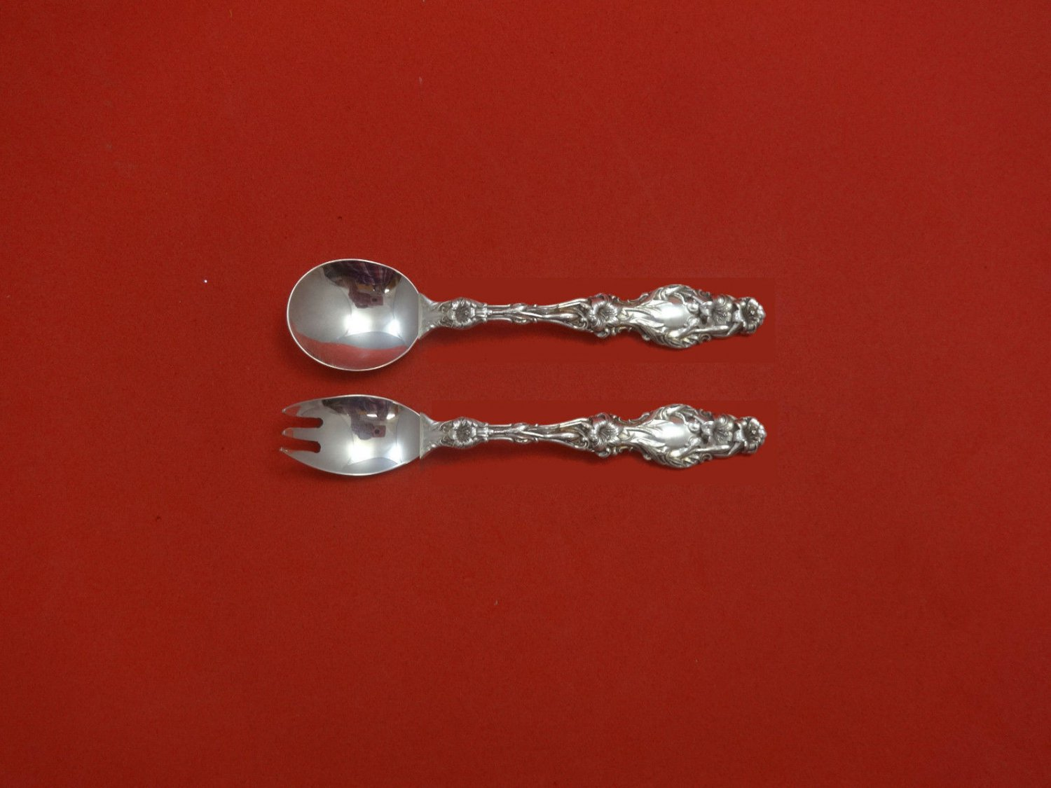 """Lily by Whiting Sterling Silver Baby Childs Set 2pc 5"""" Custom Made"""