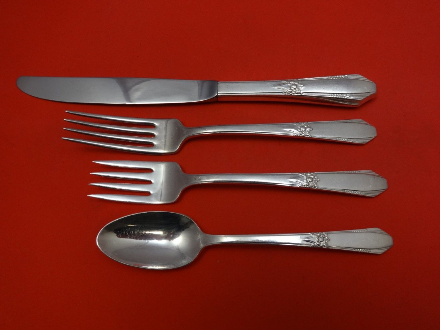 Laurier by Norhumbria Sterling Silver Regular Size Place Setting(s) 4pc