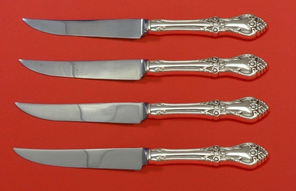 "Afterglow by Oneida Sterling Silver Steak Knife Set 4pc HHWS  Custom Made 8 1/2"""