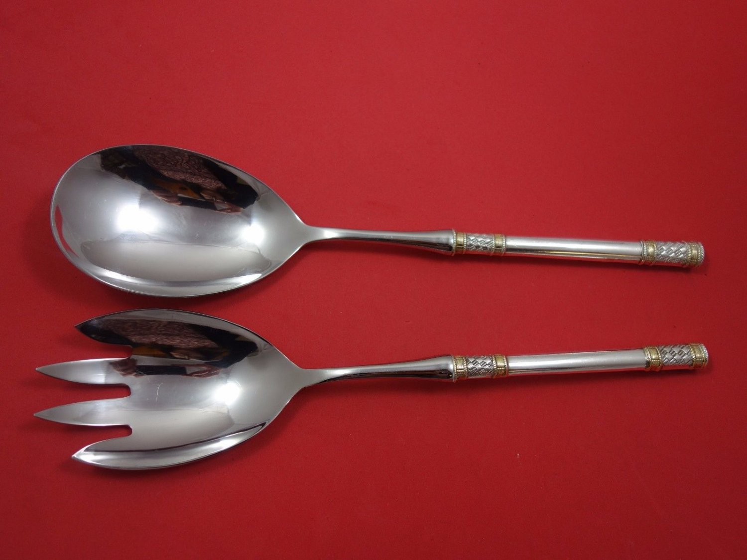 Aegean Weave Gold by Wallace Sterling Silver Salad Serving Set 2Pc HHWS Orig 12""