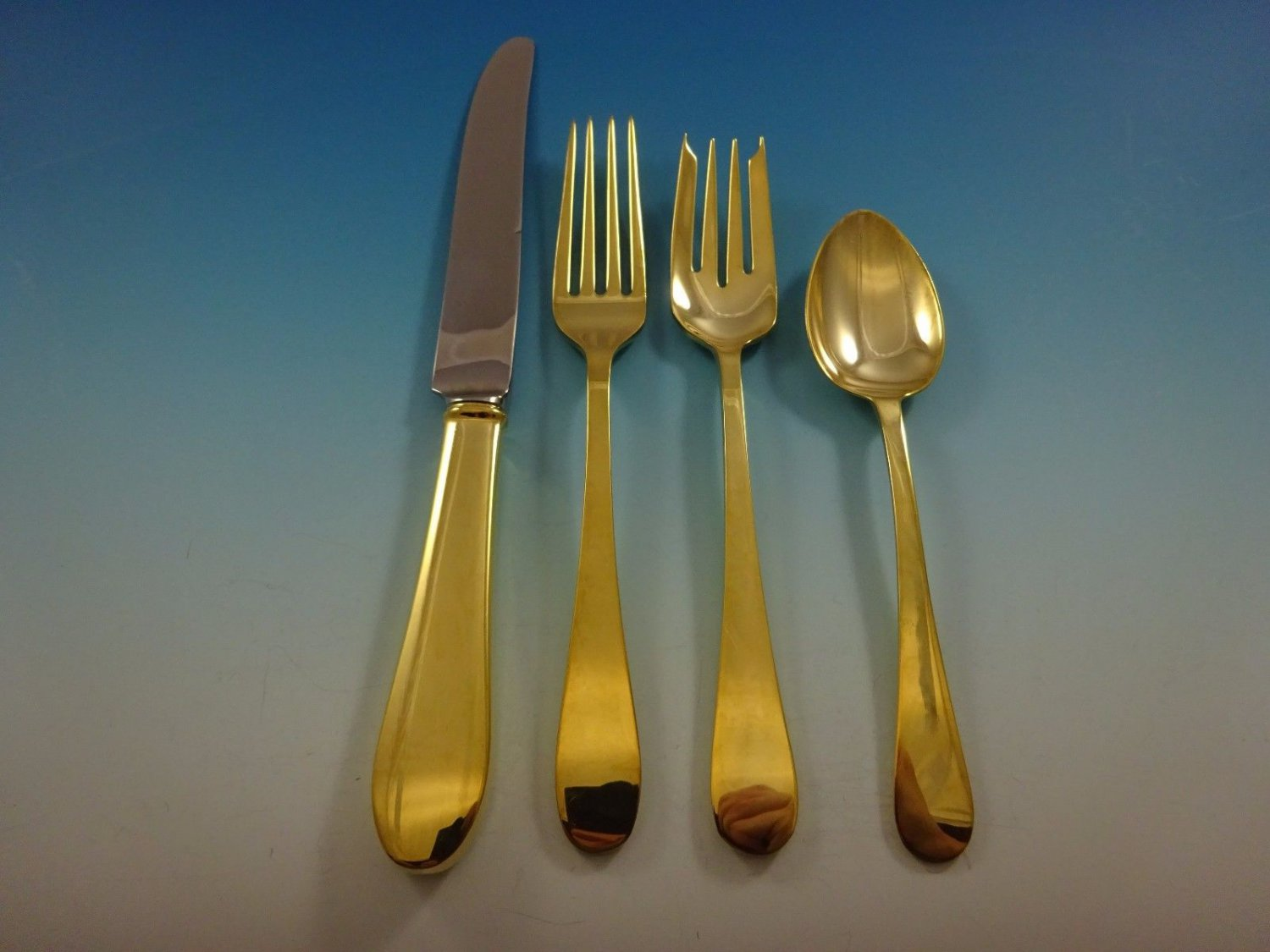 Salem Gold by Tiffany and Co. Sterling Silver Flatware Set For 6 Service Vermeil