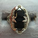 14K Gold Filigree Ring with Two Black Genuine Natural Onyxes (#910)