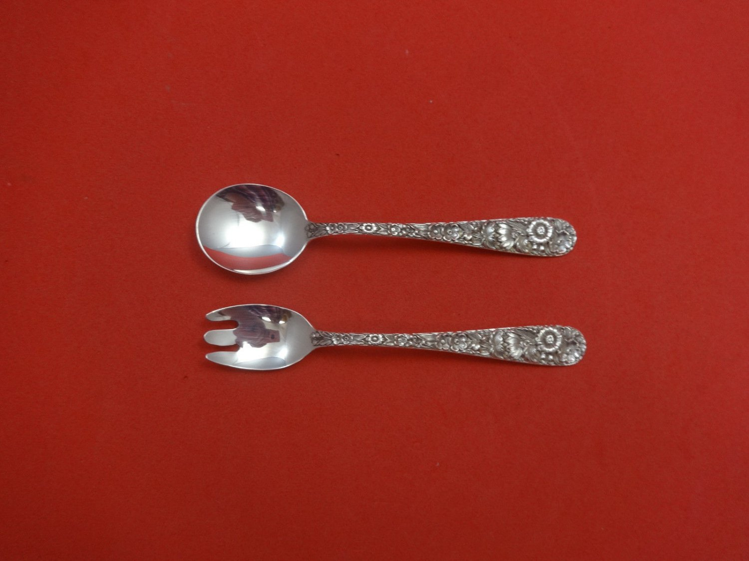 """Repousse by Kirk Sterling Silver Baby Childs Set 2pc 4 3/4"""" Custom Made"""