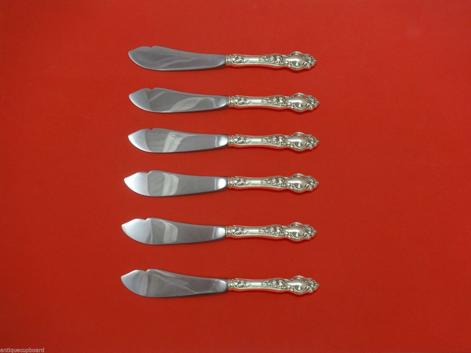 """Violet by Wallace Sterling Silver Trout Knife Set 6pc. HHWS  Custom 7 1/2"""""""
