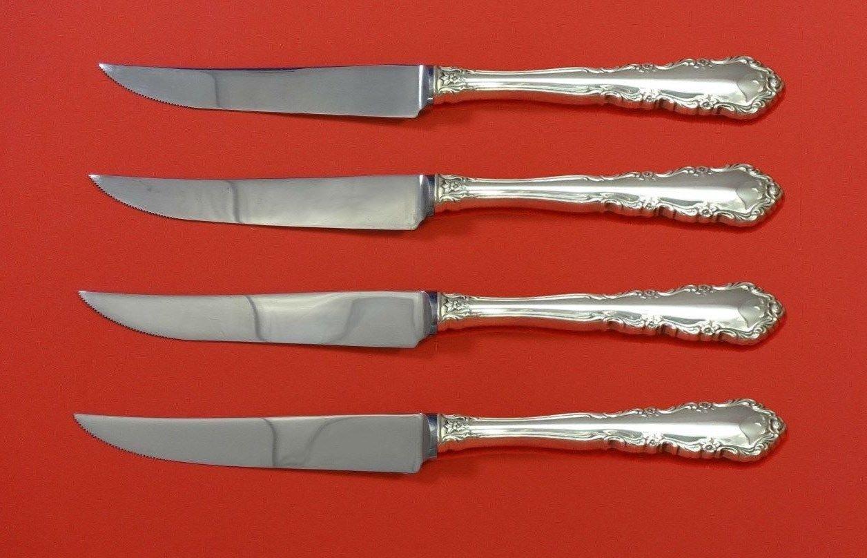 "Shenandoah by Wallace Sterling Silver Steak Knife Set 4pc HHWS  Custom 8 1/2"""