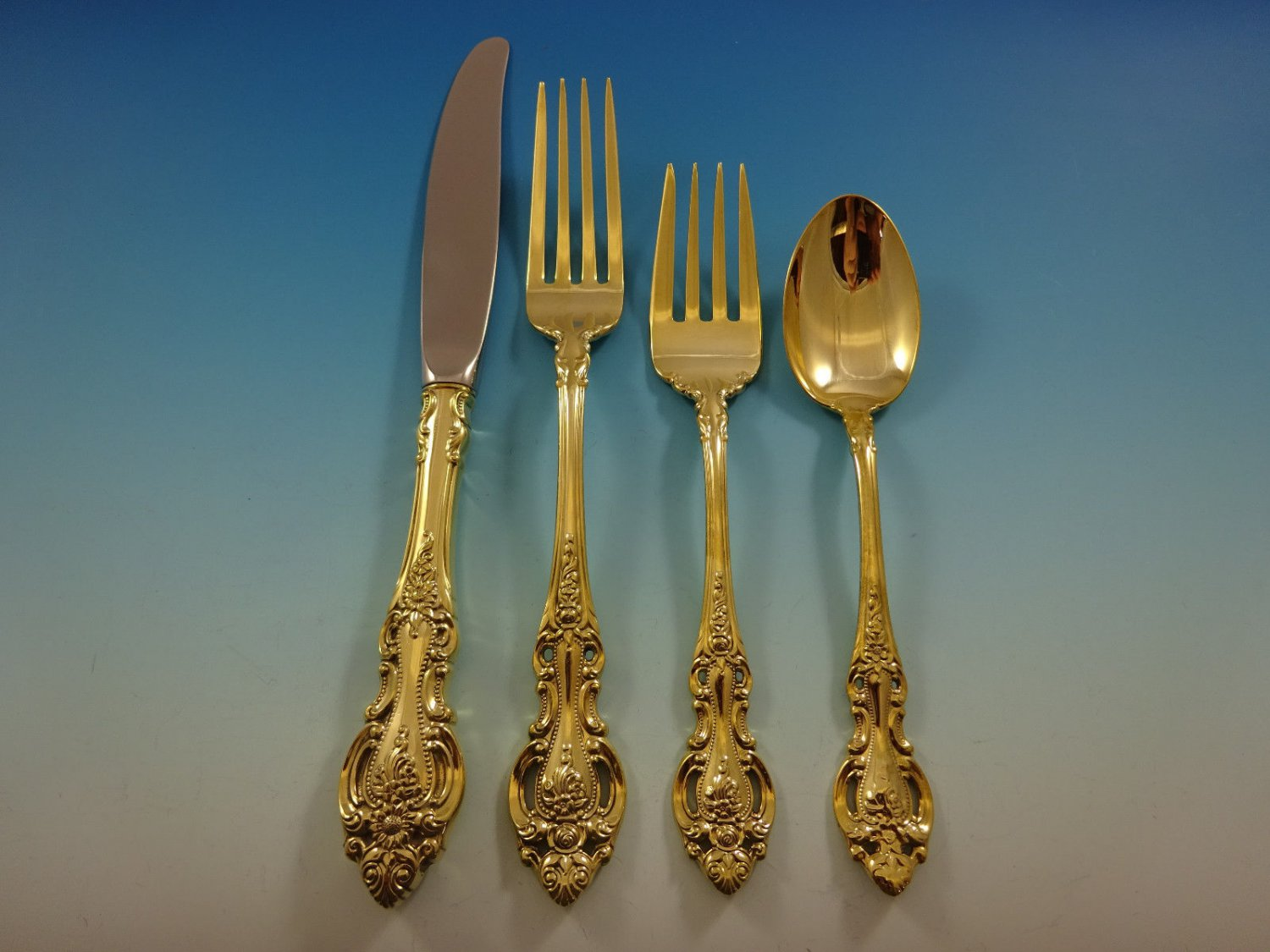 Grand Victorian by Wallace Sterling Silver Flatware Service 8 Set Gold Vermeil