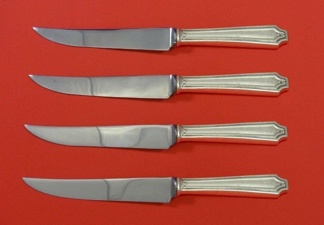 "King Albert by Whiting Sterling Silver Steak Knife Set 4pc HHWS  Custom 8 1/2"""