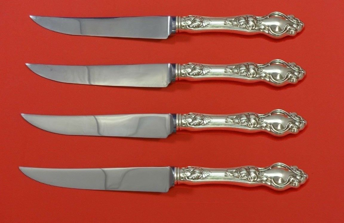 Violet by Wallace Sterling Silver Steak Knife Set 4pc HHWS  Custom Made 8 1/2""