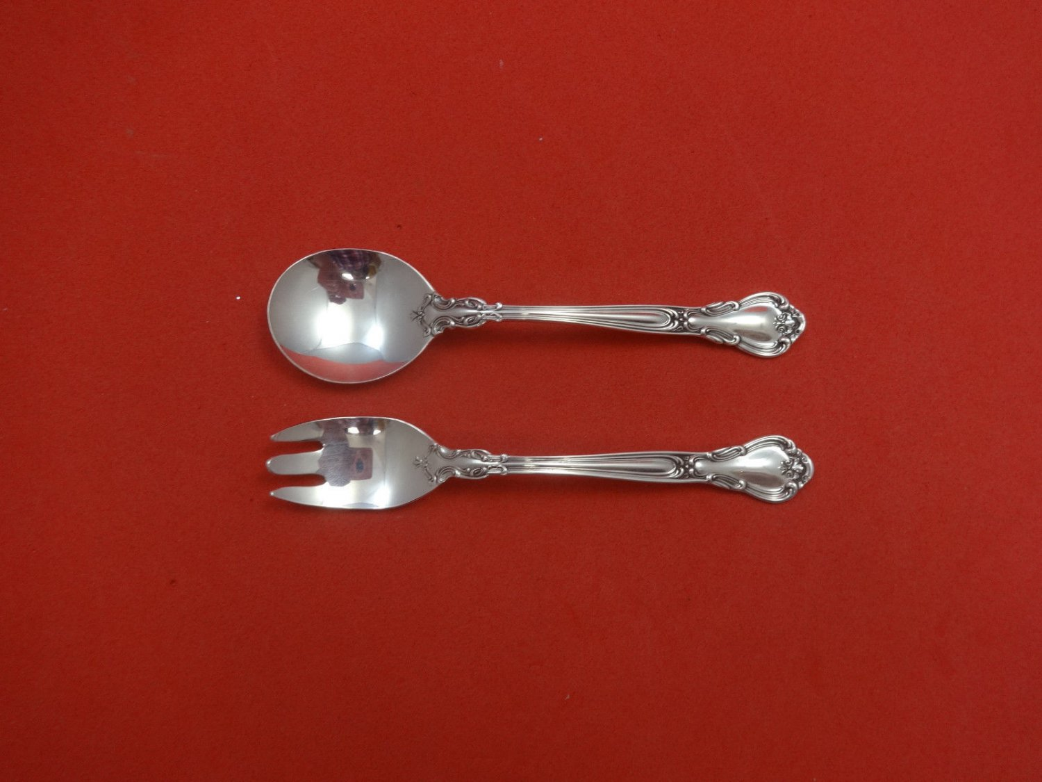"Chantilly by Gorham Sterling Silver Baby Childs Set 2pc 4 3/4"" Custom Made"
