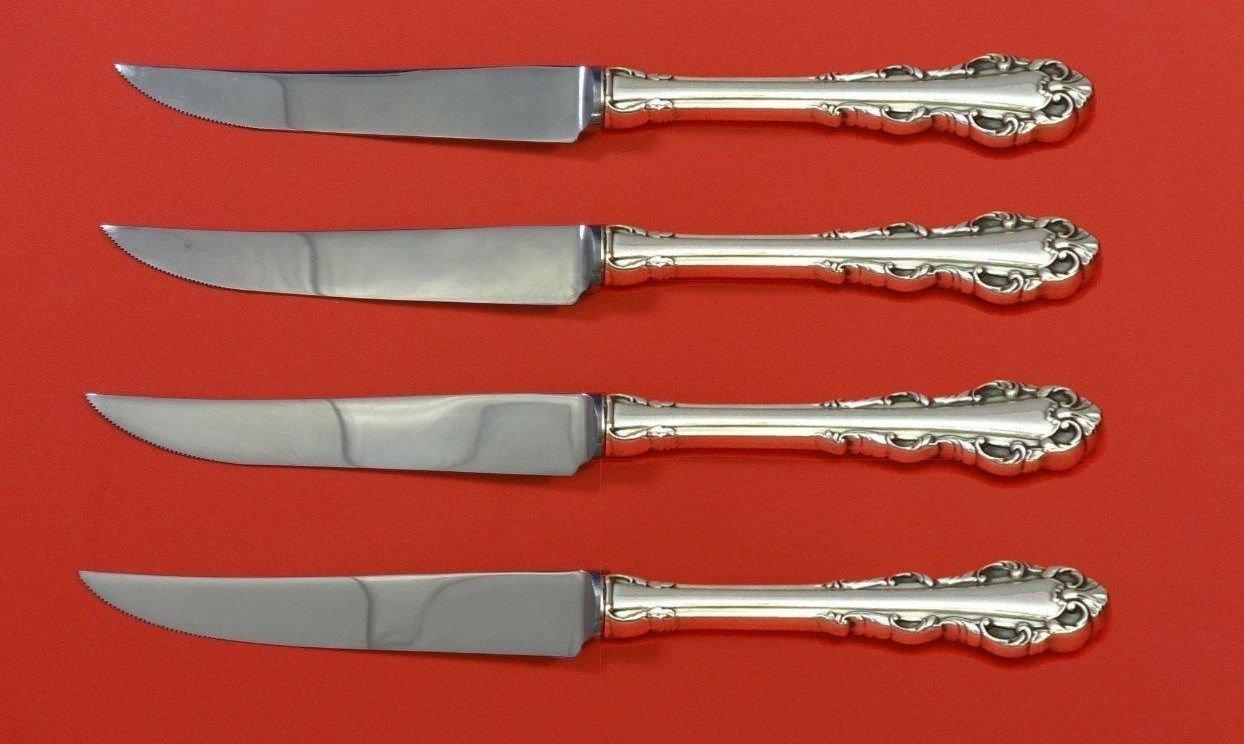 """Dresden Scroll by Lunt Sterling Silver Steak Knife Set 4pc HHWS  Custom 8 1/2"""""""