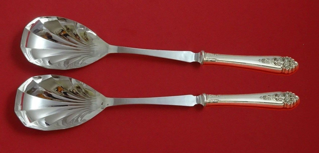 Queen'S Lace by International Sterling Silver Salad Serving Set Fluted HH Custom