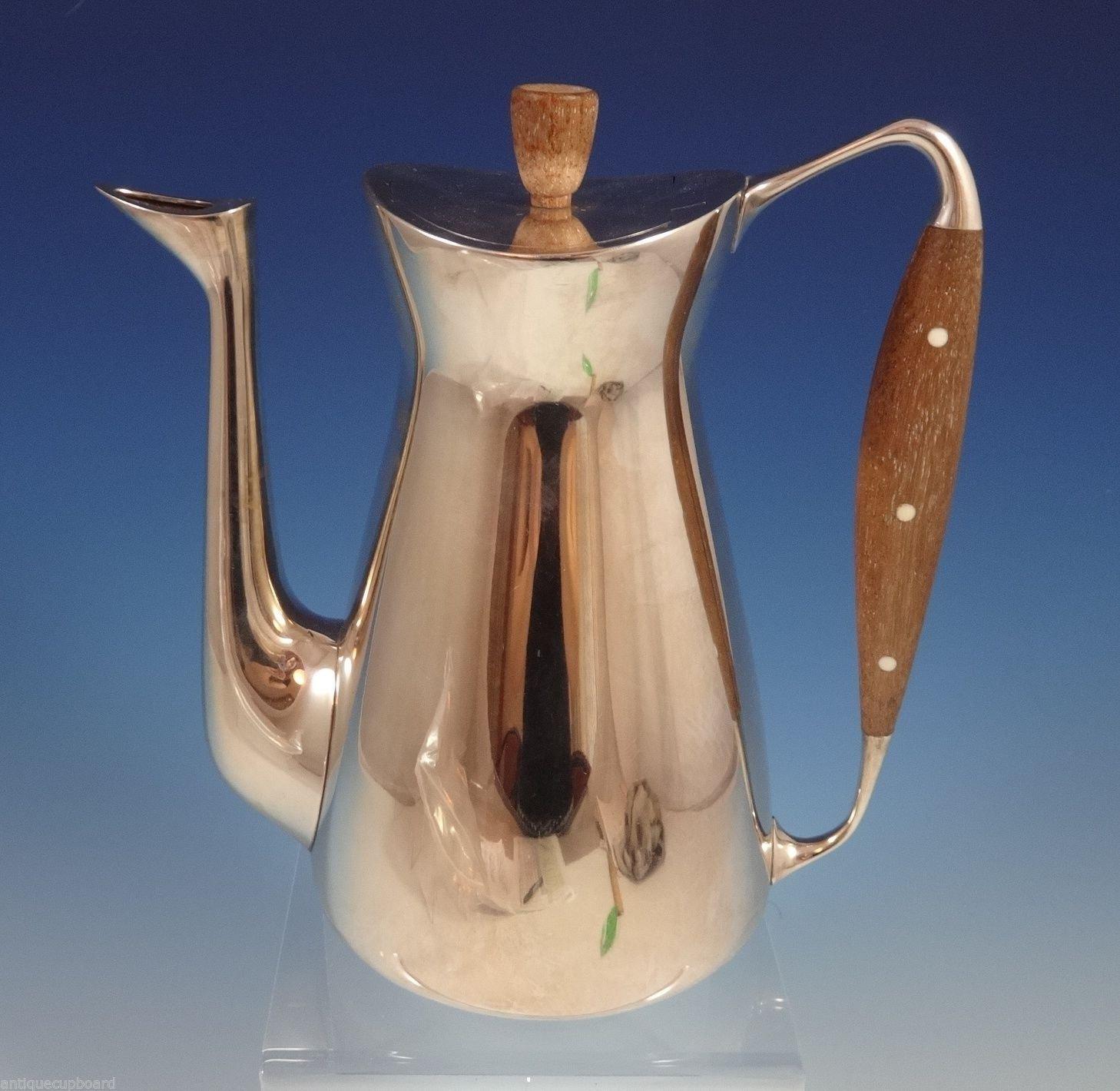 "Michelsen Danish Sterling Silver Coffee Pot Modernism 8 1/4"" Tall (#0860)"