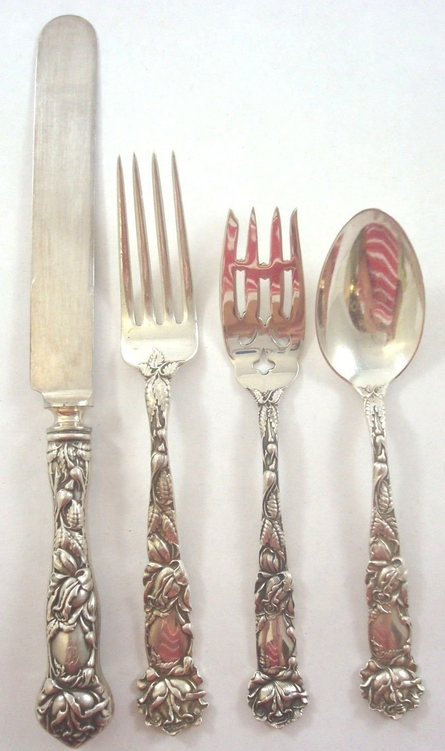 Bridal Rose by Alvin Sterling Silver Regular Size Place Setting(s) 4pc