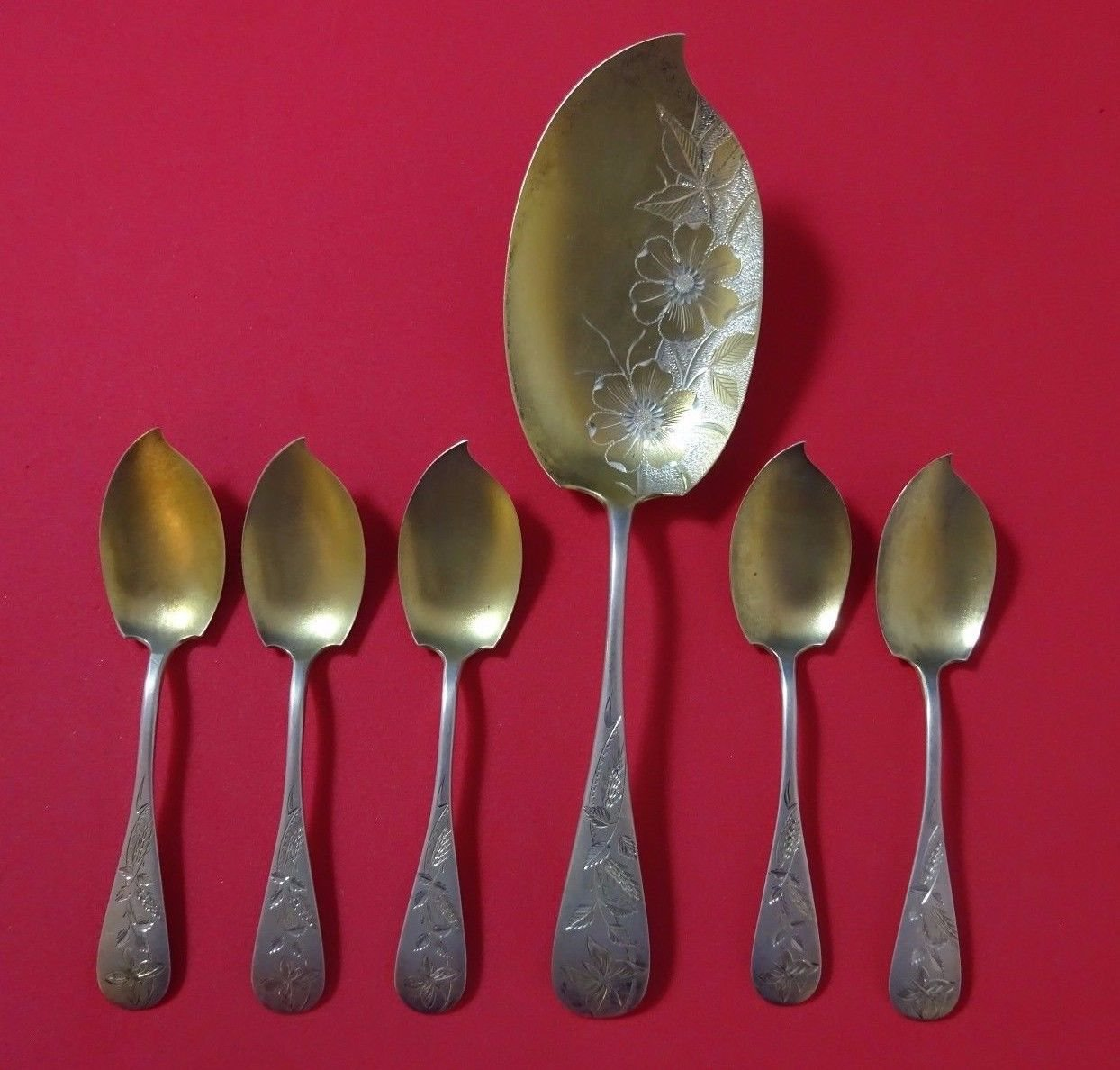 Brite-Cut by Knowles Sterling Silver Ice Cream Set 6pc w/Butterflies Gold Washed