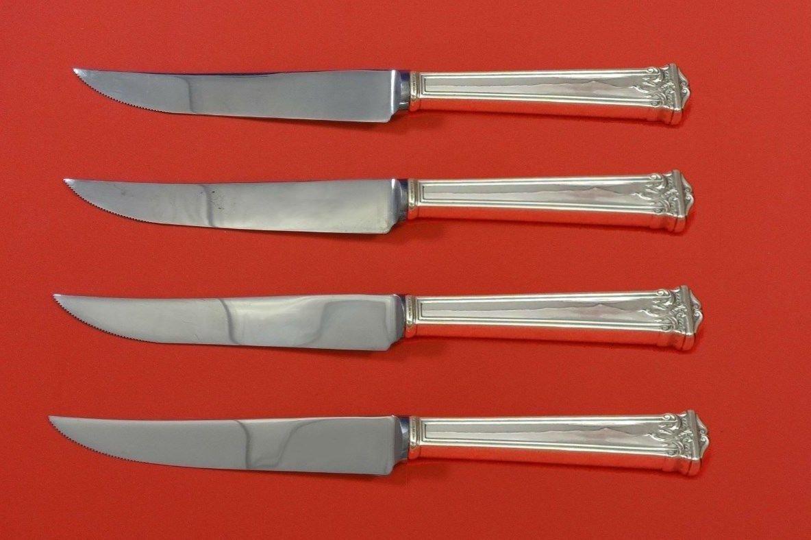 "Trianon by International Sterling Silver Steak Knife Set 4pc HHWS  Custom 8 1/2"""
