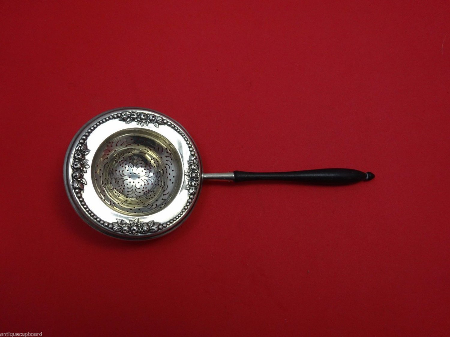 "Lancaster by Gorham Sterling Silver Tea Strainer w/Ebony Handle 7 1/4"" Rare!"