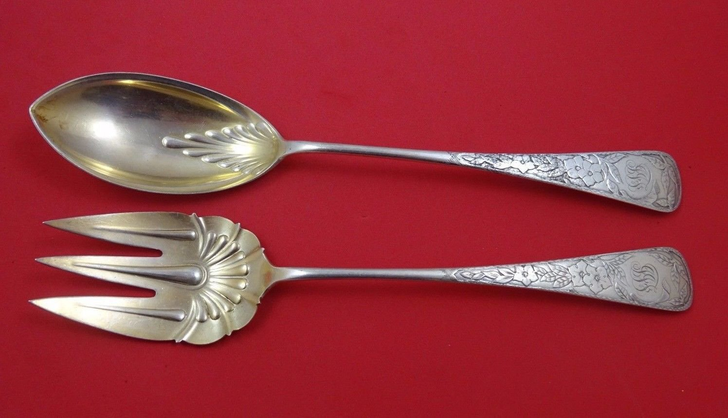"""Clematis by Gorham Sterling Silver Salad Serving Set 2pc AS Gold Washed 11 1/4"""""""