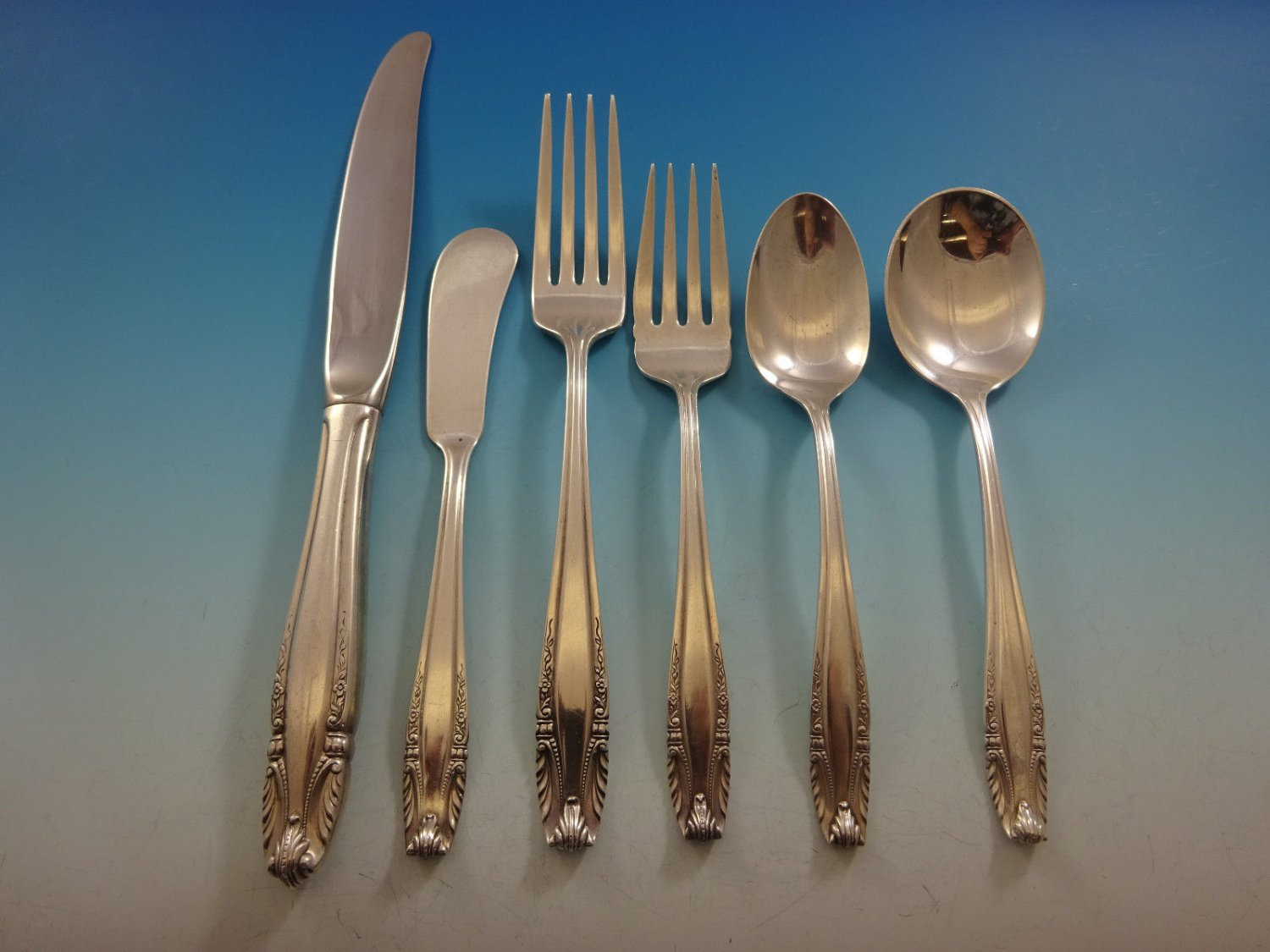 Stradivari by Wallace Sterling Silver Flatware Set For 12 Service 75 Pieces