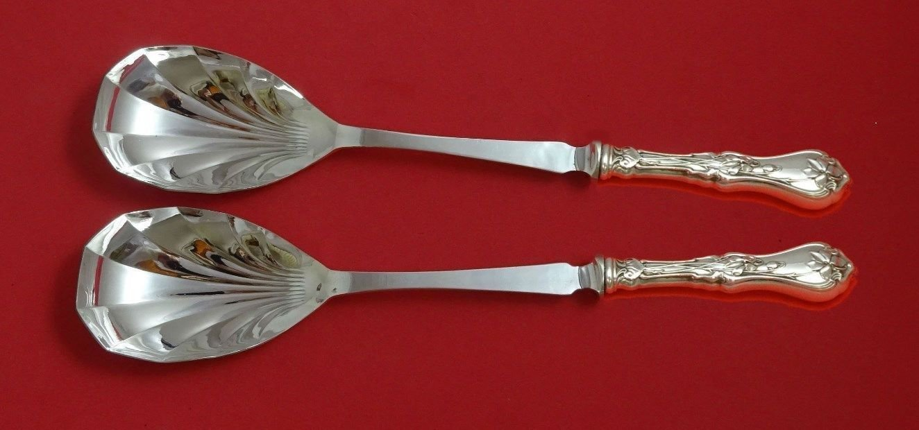 "Violet by Whiting Sterling Silver Salad Serving Set 2pc Fluted HH 11 3/8"" Custom"