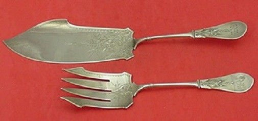 New Tipt by Gorham Sterling Silver Fish Set 2pc brite-Cut