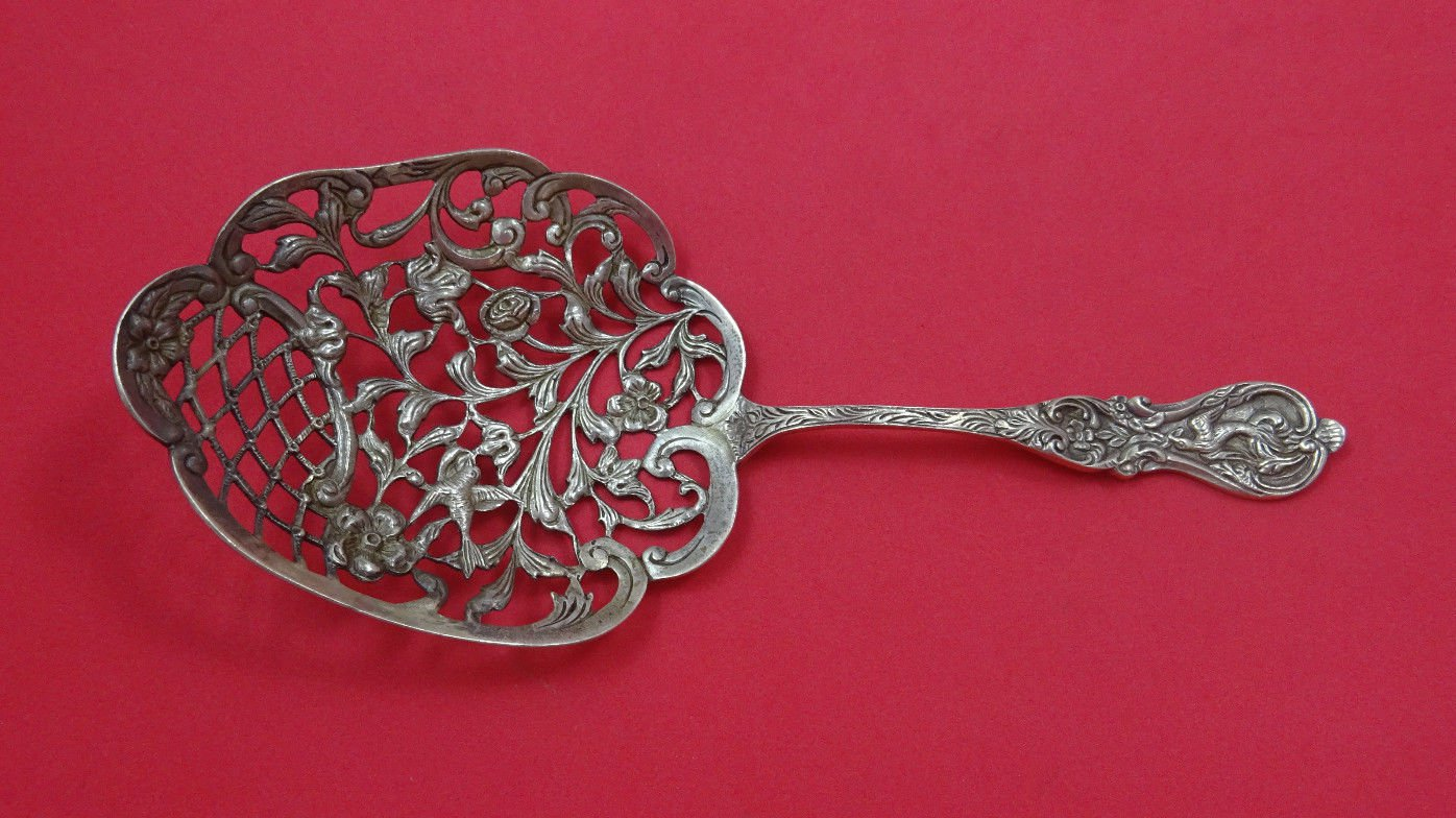 """Gorham Sterling Silver Bonbonniere Spoon Cast with Birds 8 1/2"""""""