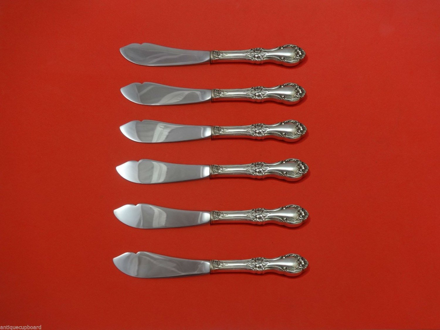 Wild Rose by International Sterling Silver Trout Knife Set 6pc. Custom 7 1/2""