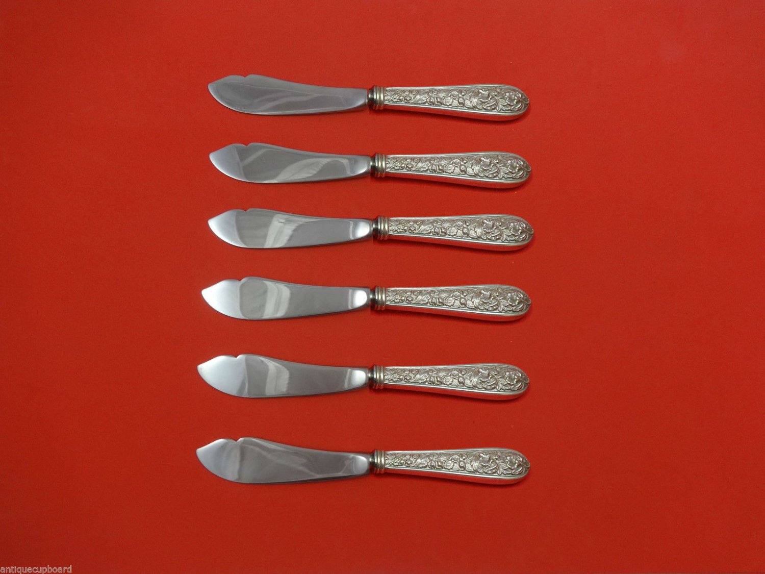 "Corsage by Stieff Sterling Silver Trout Knife Set 6pc 7 1/2"" HHWS  Custom Made"