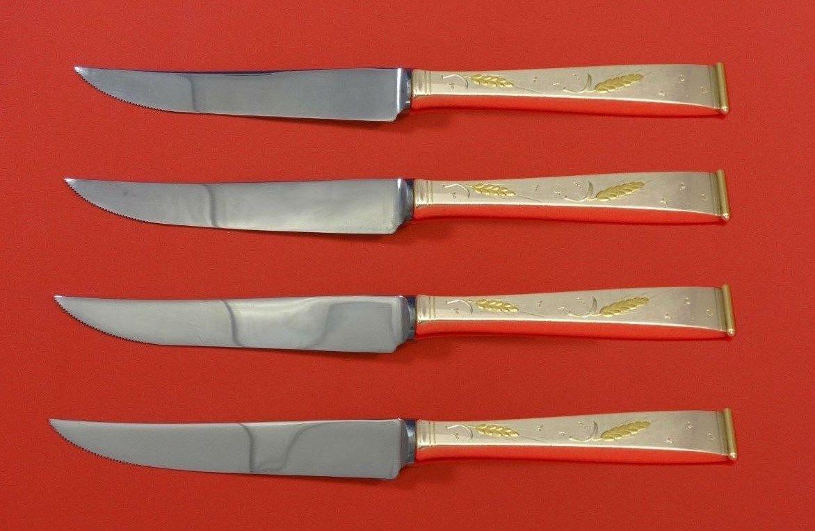 "Golden Wheat by Gorham Sterling Silver Steak Knife Set 4pc HHWS  Custom 8 1/2"""