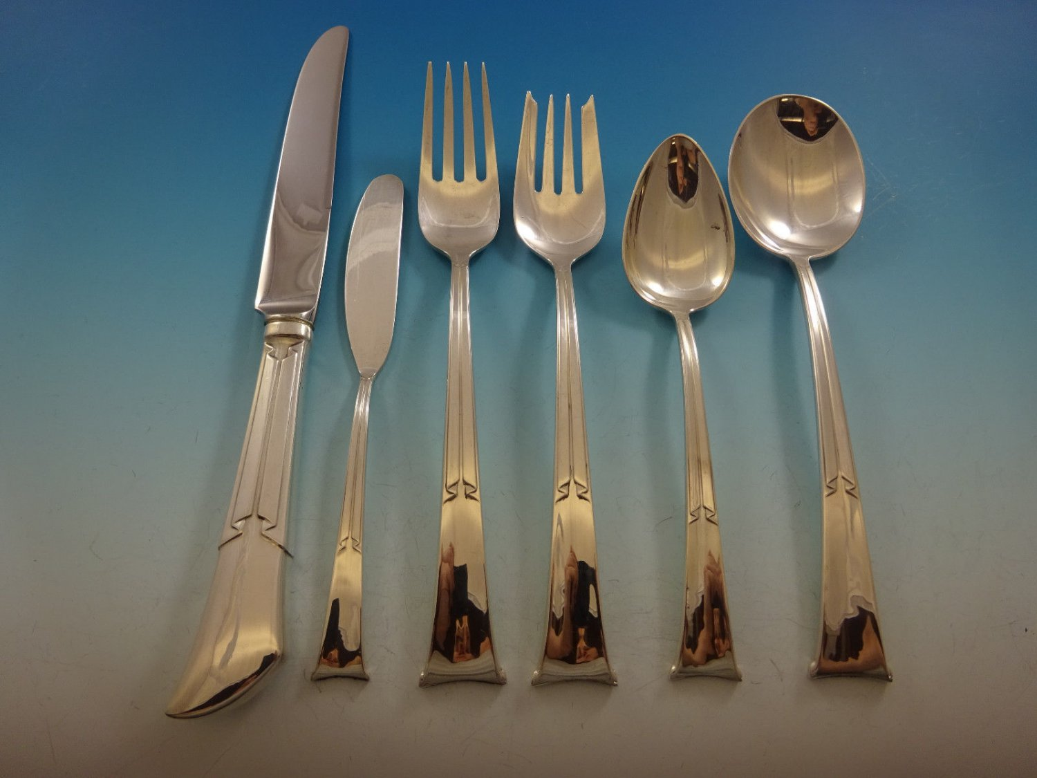 Linenfold by Tiffany & Co Sterling Silver Flatware Set For 8 Service 52 Pieces