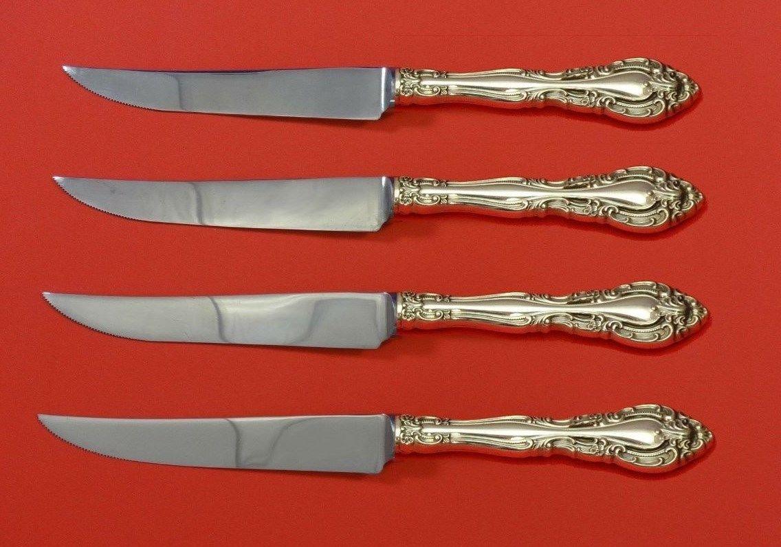 "Vivaldi by Alvin Sterling Silver Steak Knife Set 4pc HHWS  Custom Made 8 1/2"""