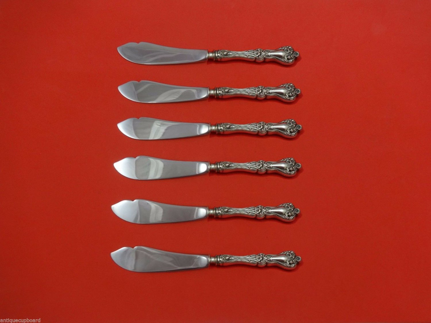 """Majestic by Alvin Sterling Silver Trout Knife Set 6pc. HHWS  Custom 7 1/2"""""""