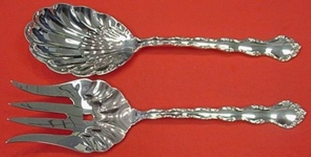 Tara by Reed and Barton Sterling Silver Salad Serving Set 2pc AS 9 1/4""