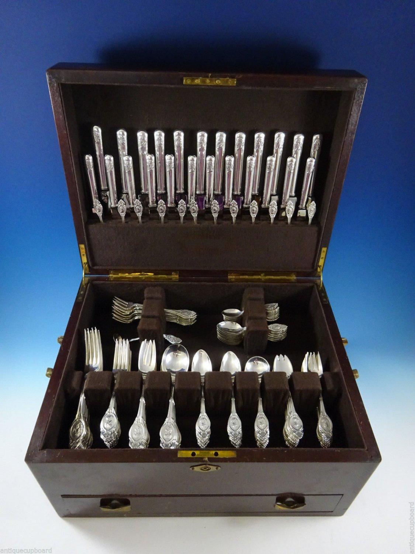 Medallion by Shiebler Sterling Silver Flatware Set Service 181 Pcs In Box
