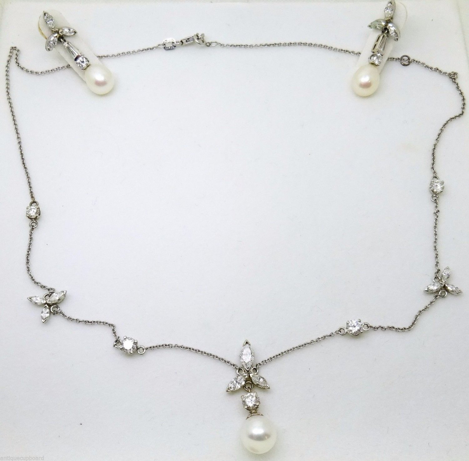 14K Gold Necklace & Earring Set with Pearls & Diamonds (#3129)
