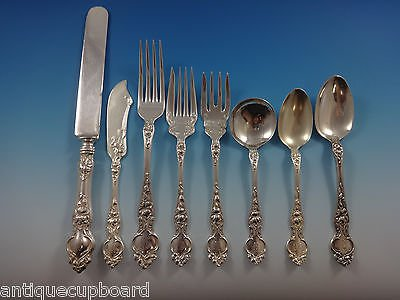 Violet by Wallace Sterling Silver Flatware Set For 12 Service 100 Pieces