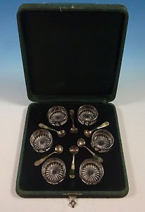 Antique by Alvin Sterling Silver Salt Cellar Set 12Pc with Fitted Case (#1343)