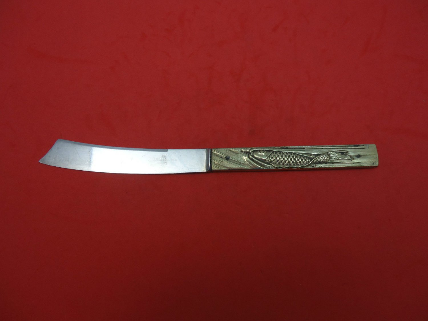 """Gorham Sterling Silver Kozuka Knife with Fish Realistic Figural 3D 7 3/4"""""""