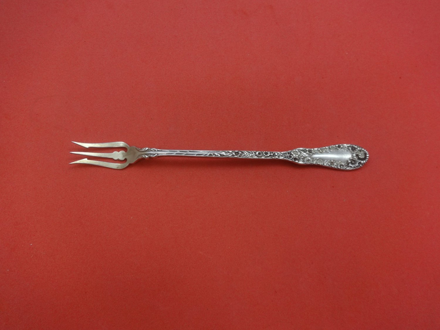 Number 10 by Dominick & Haff Sterling Silver Pickle Fork Long Goldwashed 7 1/4""