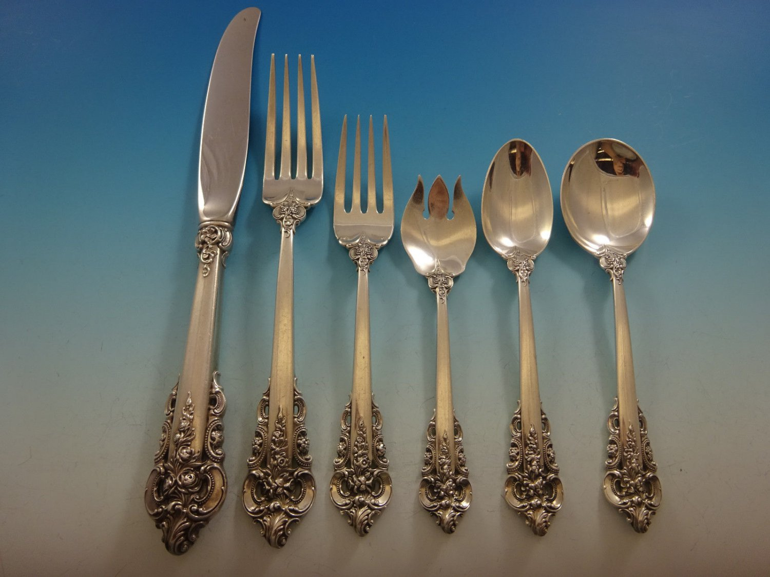 Grande Baroque by Wallace Sterling Silver Flatware Set 8 Service 51 Pcs Dinner