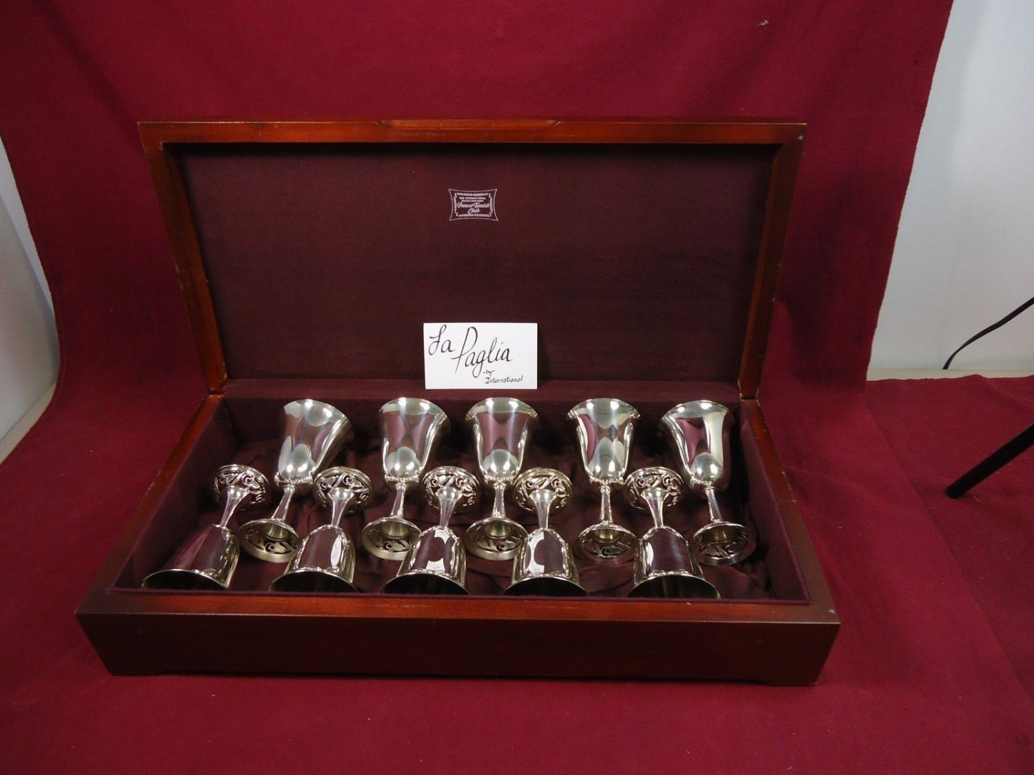 La Paglia by International Sterling Silver Goblets Set of 10 Original Box